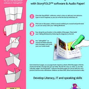 Produktbild i rosa och blått som visar förpackningen för Mantra Linguas ljudpapper, StoryFold Paper, som kan användas för att spela in sin egen röst eller andra ljud direkt på pappret och sedan lyssna med de talande pennorna
