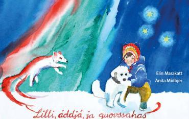 Bild på omslaget till Lilli farfar och norrskenet på svenska och nordsamiska