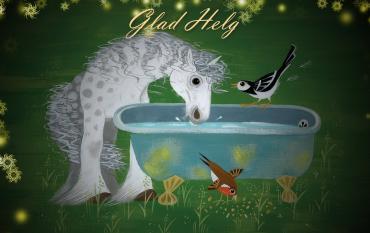 Bild på en häst och fåglar som dricker vatten, från Mungo får nya vänner