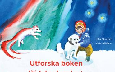 """Omslagsbild av boken Lilli, farfar och norrskenet av Elin Marakatt och Anita Midbjer, med texten """"Utforska boken"""""""